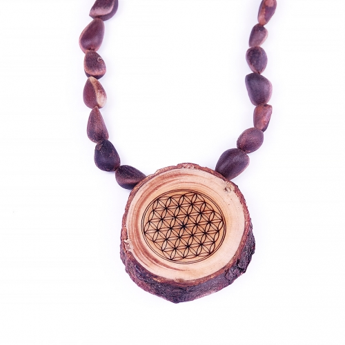 Necklace with cedar wood pendant «Flower of Life»