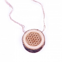 Cedarwood pendant with «Flower of Life»